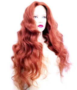 Full-Lace-Wig-Remi-Remy-Indian-Human-Hair-Body-Wave-Wavy-Red-Auburn-130-Long