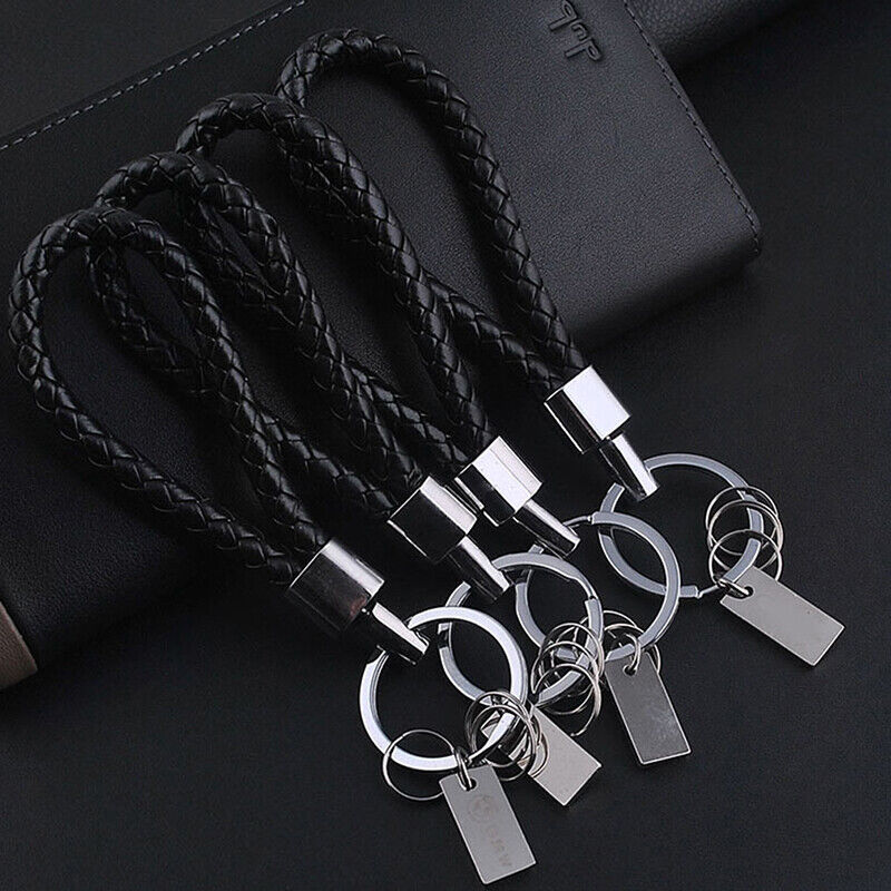 Metal Leather Key Chains Car Keychain Hand-woven Craft Key Holder Solid Color T