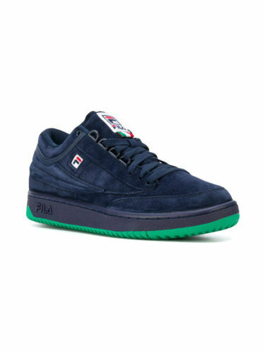 Fila hommes T-1 Navy/Green/bleu Mid Lace up Suede, Leather Athletic Sneakers