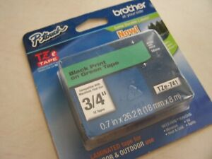"""Brother TZ741 TZe741 18mm 3/4"""" inch black on green TZ tape  P-Touch"""