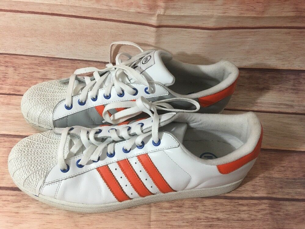 Adidas Superstar MI Sneaker Athletic White Orange Gray Sz 14 EUC
