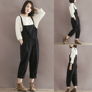 1f3772bee5fb7 Korean Womens Cotton Linen Loose Harem Long Pants Jumpsuit Overalls ...