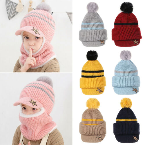 PomPom Beanie Hat Baby Winter Hat with Warm Fleece Lining Caps for Kids Aged 2-5