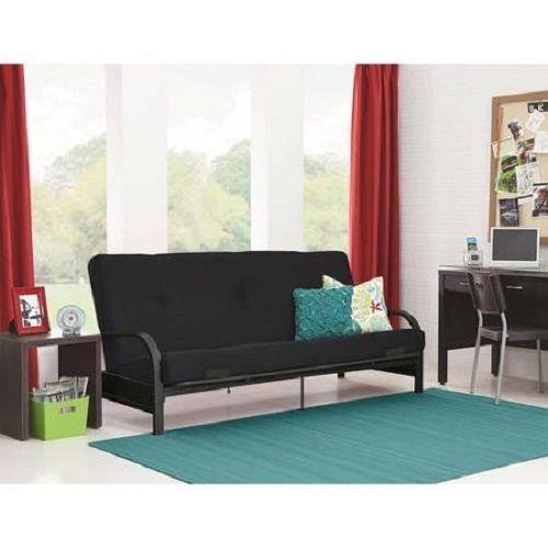 Futon Sofa Bed w//MATTRESS Convertible Sleeper Lounger Dorm Couch Black