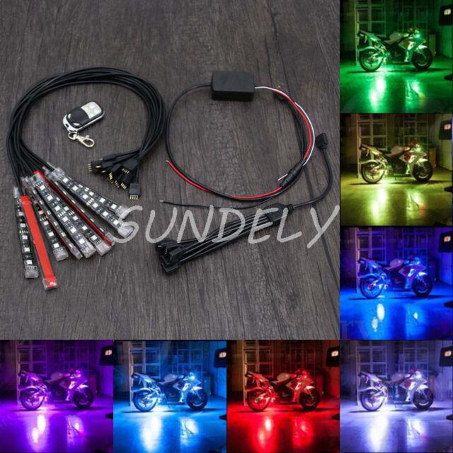 Motorcycle CAR VAN BIKE 10Strip RGB LED Light Remote Kit Multi 15 Color Neo Glow