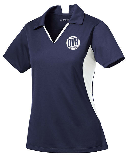 DV8 Women's FreakShow Performance Polo Bowling Shirt Dri-Fit Navy bluee White