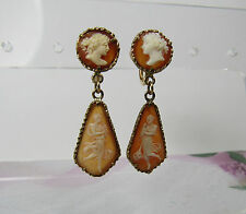 14K 14KT Yellow Gold Finely Carved Cameo Profile Full Body Non Pierced Earrings
