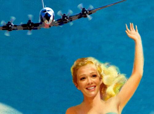 SAN JUAN Puerto Rico EASTERN Air Lines Beach Travel Poster Pin Up Art Print 052