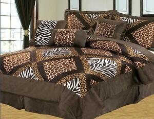 11 Pc Safari Comforter Sheet Set Brown White Zebra Giraffe