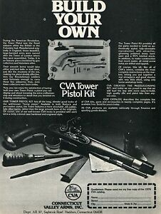 1977 Print Ad of CVA Connecticut Valley Arms Tower Pistol Kit build
