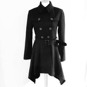 ALL-SAINTS-VINTAGE-REMADE-100-WOOL-MAC-FIT-FLARE-TRENCH-COAT-BLACK-SIZE-8