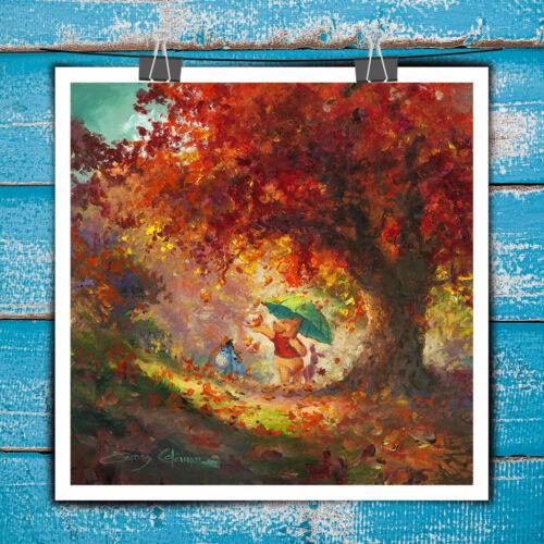 Painting Art Print Winnie The Pooh Autumn Leaves on Canvas Porch Decor 16x16