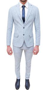 Vestiti Eleganti Estivi Uomo.Dettagli Su Completo Abito Uomo Sartoriale In Lino Vestito Azzurro Bianco Elegante Estivo