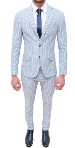 pak linnen zomer wit jurk Élégant heren Sartoriale blauw Set AHxq4w5x