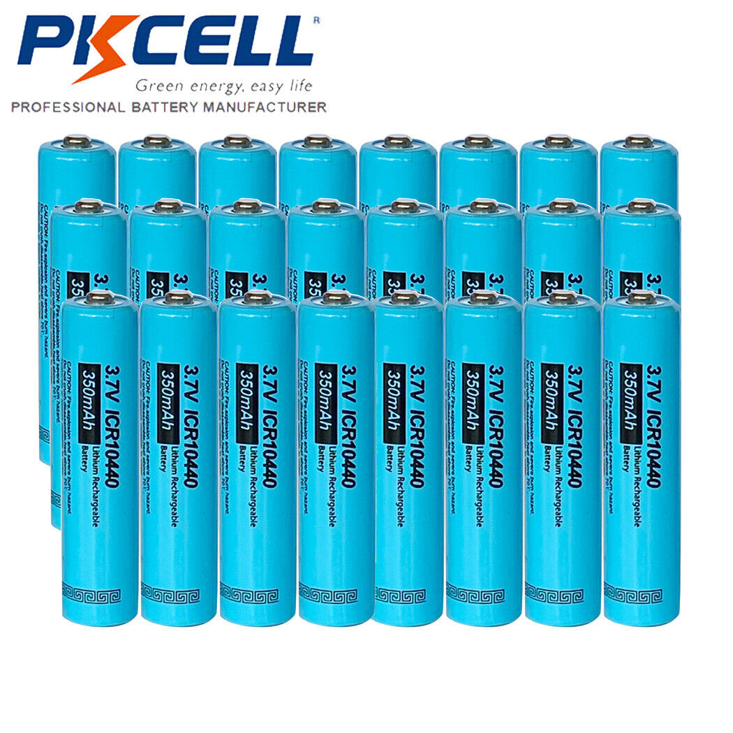 24pc AAA Size 3.7V 350MAH ICR10440 Lithium Ion Rechargeable Battery Button top