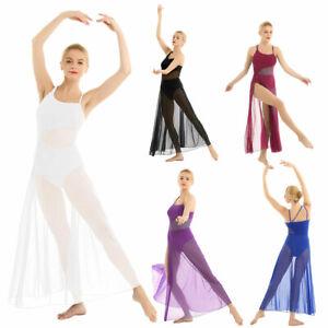 Women-Lyrical-Dance-Dress-Sleeveless-Asymmetrical-Mesh-Maxi-Built-In-Leotard