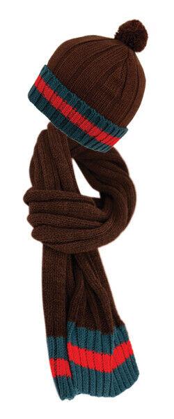 Red Green Striped Cable Knit Cuff Beanie W/ Pom Pom Hat Scarf Two Piece Set New