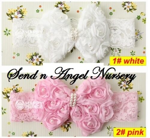 Vintage Style Rose Bow lace Headband with pearls for Reborn Doll/Newborn WHITE