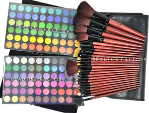 New-Professional-120-Color-Eye-Shadow-Palette-amp-24pcs-Black-Brushes-Set-Kit