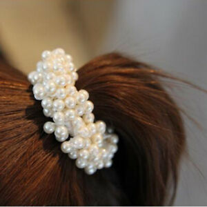 Women-Fashion-Rope-Scrunchie-Ponytail-Holder-Pearl-Beads-Elastic-Hair-Bands-UK