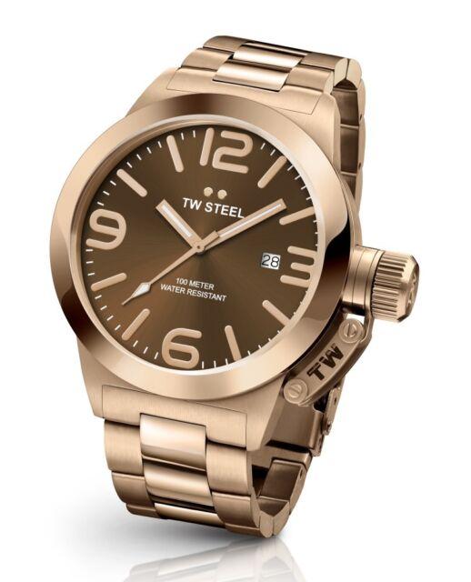cc9b7ab762 Tw Steel CB191 Hombre Oro Rosado 45MM Canteen Reloj - 2 Años de Garantía