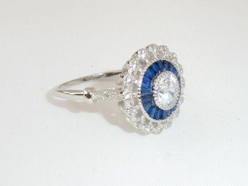 Señoras Hecho a Mano Halo Diseño 925 sterling sólido Anillo De Plata Blanco y Azul Zafiro