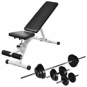 vidaXL-Workout-Bench-with-Barbell-and-Dumbbell-Set-30-5kg-Fitness-Equipment