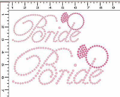 DIY Pre-Cut Sticky Flock Hotfix Rhinestone Transfer Template Set Bride Ring NEW