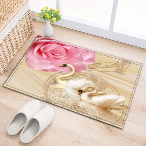 """24x16/"""" Swan /& Flowers Pattern Kitchen Bathroom Non-Slip Shower Bath Door Mat Rug"""