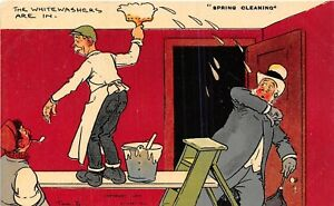 POSTCARD-COMIC-TOM-BROWNE-SPRING-CLEANING-Whitewashers
