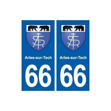 66 Arles-sur-Tech blason autocollant plaque stickers ville arrondis