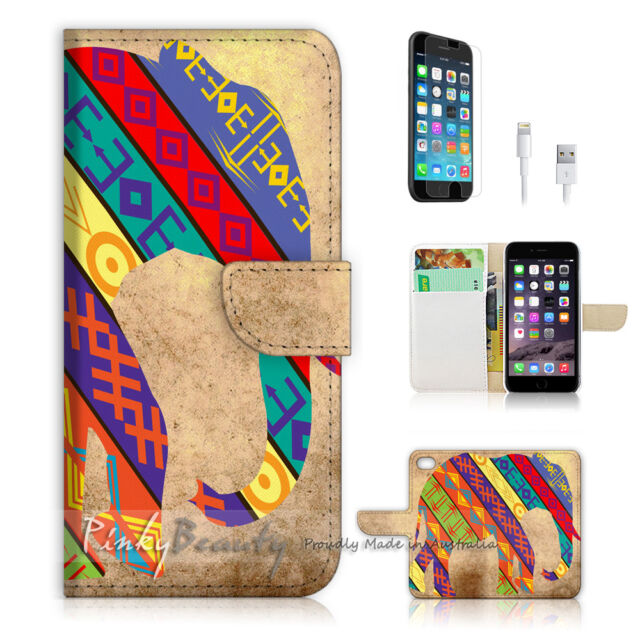 ( For iPhone 6 / 6S ) Wallet Case Cover! Aztec Tribal Elephant P1404