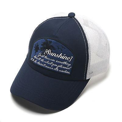 Unisex Mens Womens Sunshine Mesh Baseball Cap Snapback Trucker Hats White