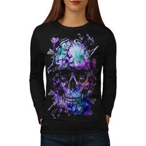 Wellcoda Skull Head Festival Womens Long Sleeve T-shirt, Concert Casual Design