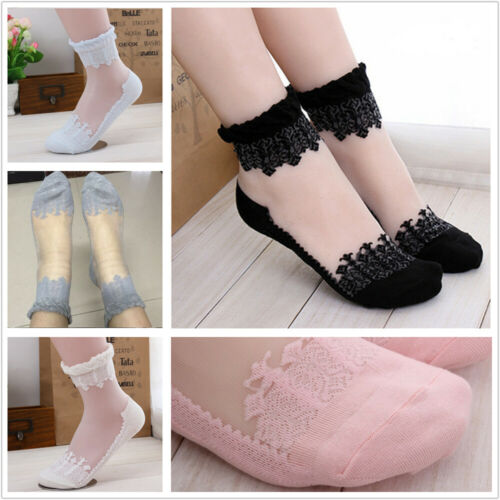 10 Pairs Women Ultrathin Transparent Crystal Silk Lace Elastic Short Ankle Socks