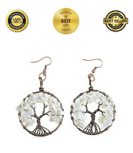 Tree-of-Life-Round-Frame-Earrings-Ladies-Natural-Jewellery-for-Pierced-Ears-Gift
