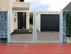 einfahrtstor 400 x 180cm 2 fl gelig verzinkt tor gartentor. Black Bedroom Furniture Sets. Home Design Ideas