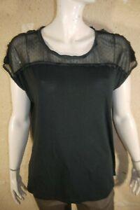 GERARD-DAREL-Taille-3-40-Superbe-haut-top-tee-shirt-manches-courtes-noir-femme