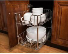 Steel Wire In-Cabinet Sliding Pull-Out 2 Tier Drawers Kitchen Storage Baskets