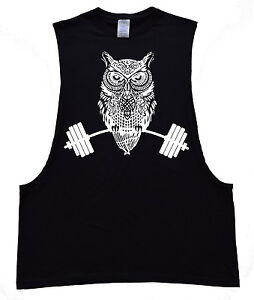 New Men/'s Owl Dumbbell Black Muscle T Shirt Workout Gym Tee Muscle Bodybuilding