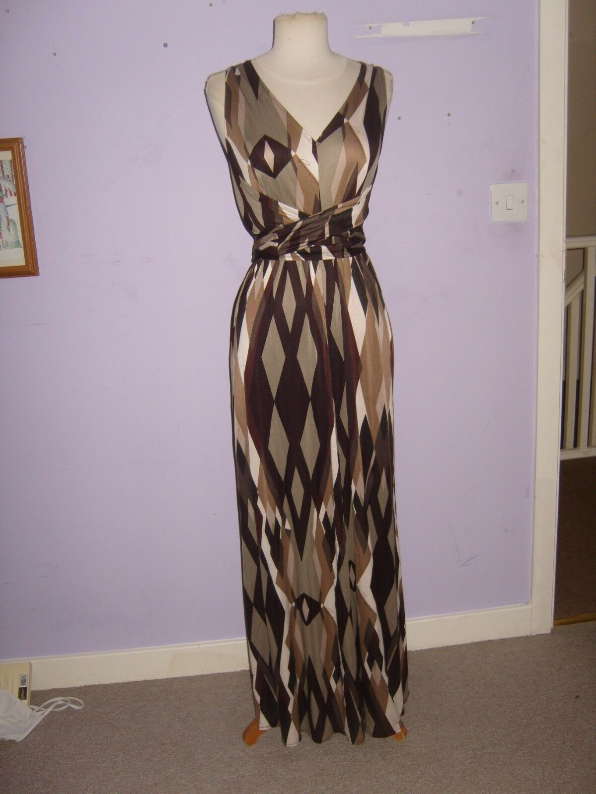 RARE OOAK AMANDA WAKELY SILK GEOMETRIC SIGNED JERSEY EVENING MAXI DRESS 10-12-14