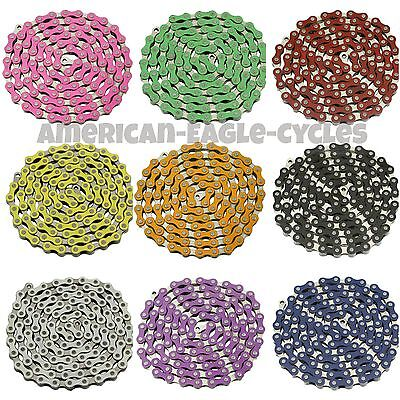 """YBN Single Speed Bicycle Chain 1//2/""""X1//8/"""" 112L BMX Freestyle  Chain 9 Colors"""