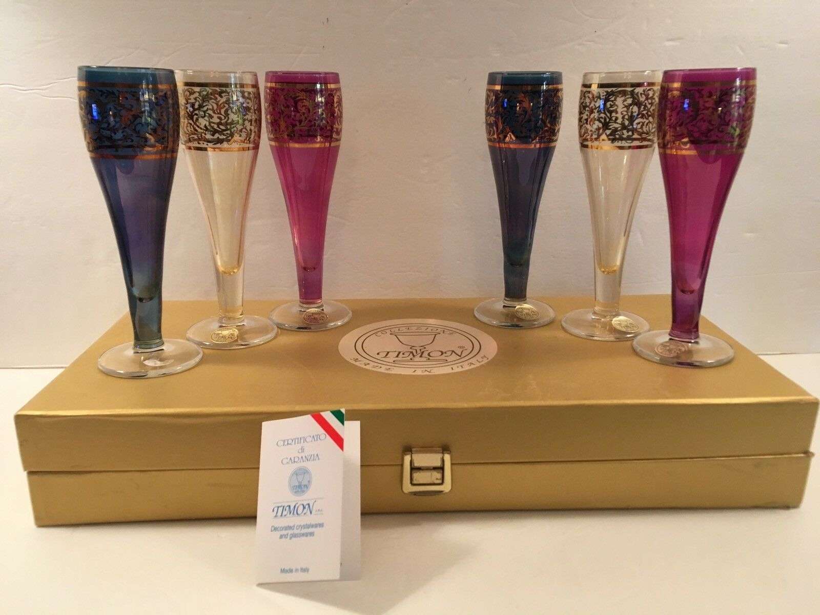 Timon Sherry Glasses Italian 8 Ounce Farbe Decor by Hand 24k Gold Accented COA