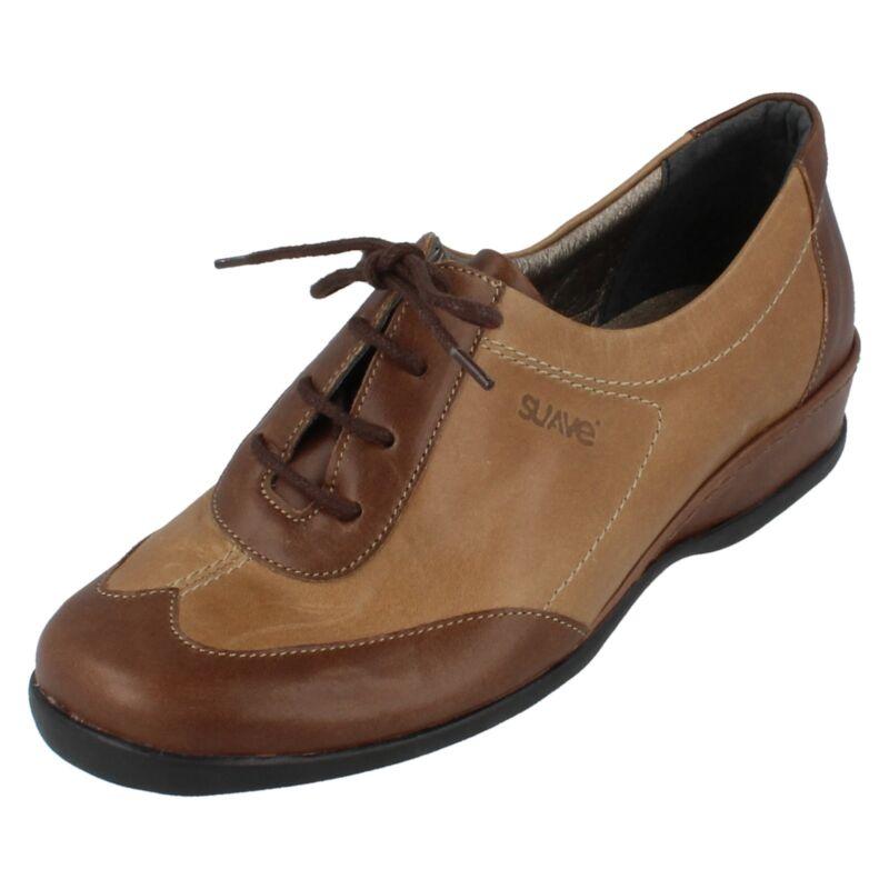 Donna Suave Marrone Leather Scarpe Con Lacci - Brownlaceup - Misura Uk 4