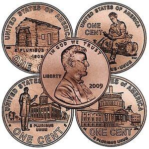 """2009 P /& D /""""SET/"""" of 8 Lincoln 1 Cent BICENTENNIAL Pennies from BU Rolls UNC"""