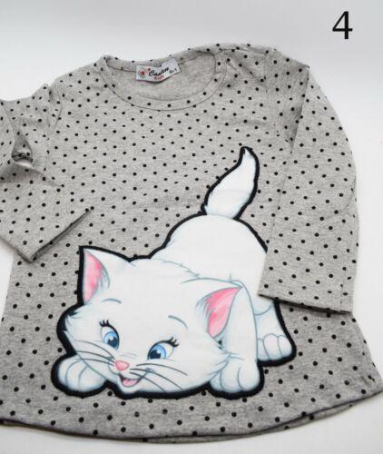 NUOVO Carino Bambino Kids Girls Top cotone a maniche lunghe glitterate Party Casual Tops
