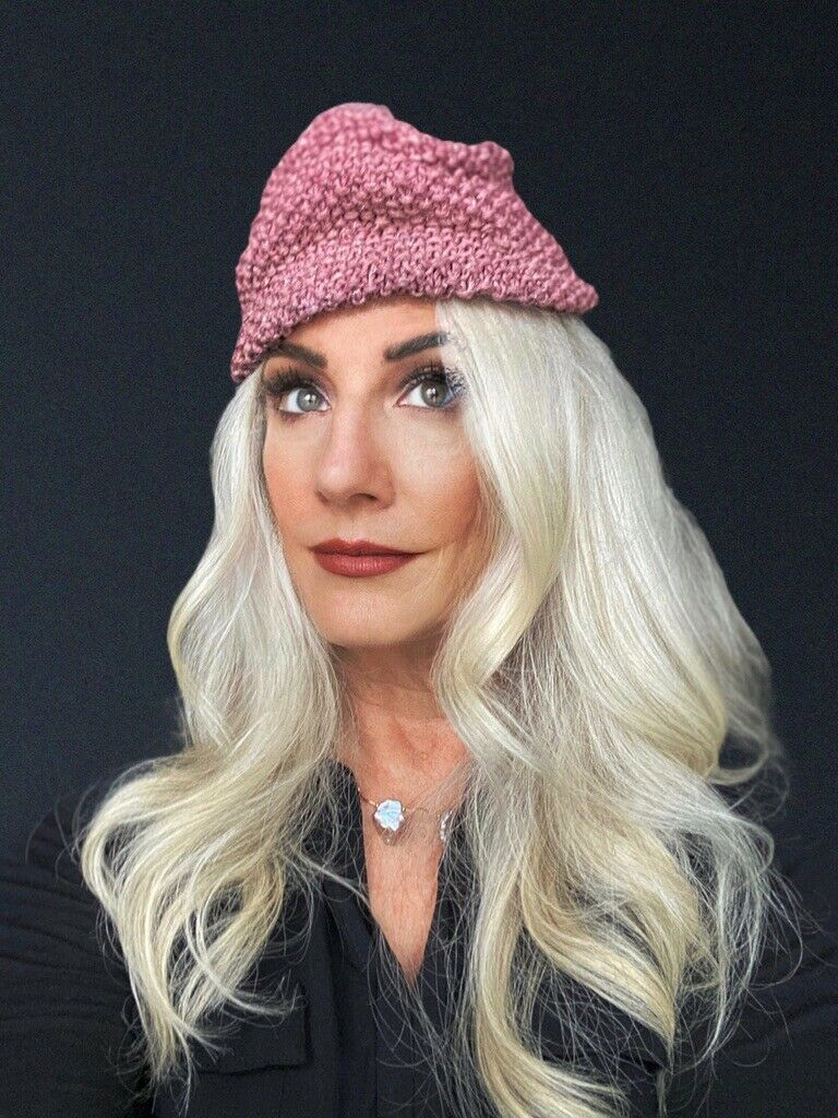 VTG Knit Hat Dusty Rose Pink Metallic Hand-Knit 1… - image 2
