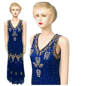 New-Ladies-Blue-Gold-Sequin-Beaded-Vintage-Evening-Long-Dress-size12-14-16-18-20
