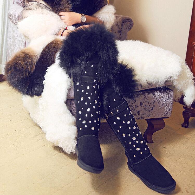 Winter Faux Fox Fur  Thigh Snow Rhineston Gine High stivali donna Long scarpe Y874  vendita online