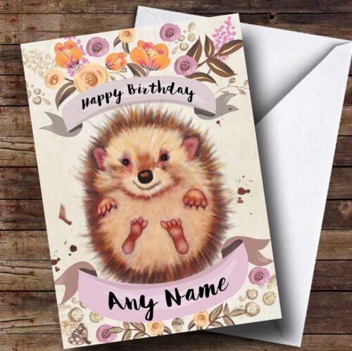 Rustic Gold Hedgehog Personalised Birthday Card